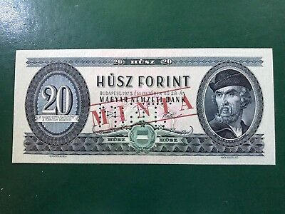 Specimen Minta Central Bank Of Hungary 20 Forint 1975 Unc