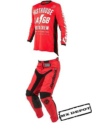 """Fasthouse Motocross Kit Combo La58 Large Jersey & Grindhouse Pants 34"""" Red"""