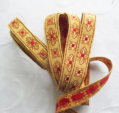 Vintage Vestment Trim Cross Blossom Design Gold Red  Silk Accent French