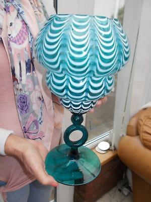 "Pretty Nailsea Style Turquoise Vase Or Glass In Lovely Condition 12"" (30Cm) High"