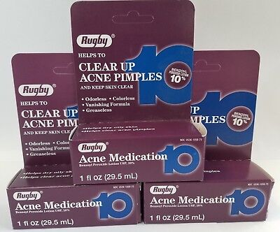 Rugby Benzoyl Peroxide 10% Acne Lotion, 1oz, -3 Pack -Expiration Date 12-2019