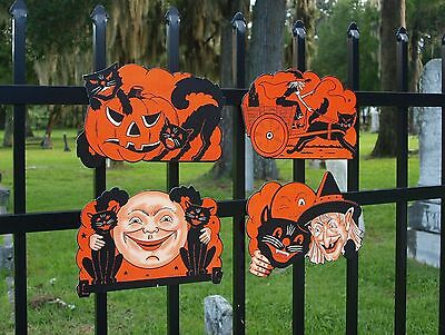 4 Retro Beistle Repro HALLOWEEN Diecuts VINTAGE Party DECORATIONS