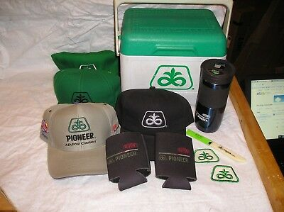 Nice Lot of Pioneer Seed Corn Advertising Items - Cooler, Hats, Patches, Thermos