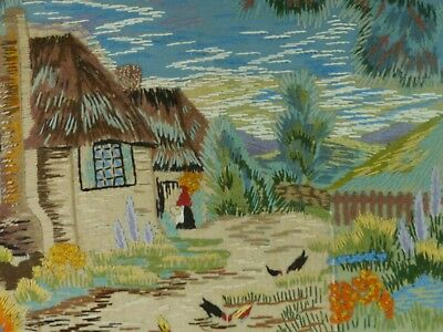 Vintage Embroidered Country Cottage Rural Scene Chickens Rustic Thatched Cottage