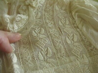 Stunning Antique Dress Top/blouse Fancy Elaborate Embroidery & Lace, Child Size!