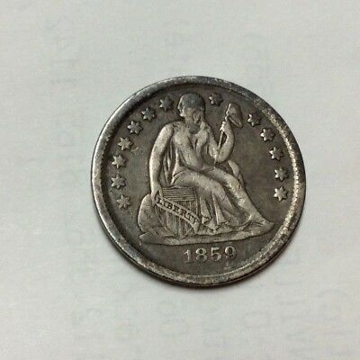 1859 Seated Liberty Dime, 10 Cents.. Key Date Only 430,000 Minted..  Nice