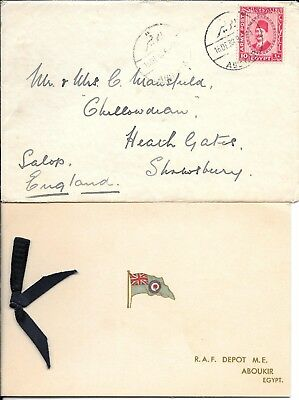 Egypt Army Post Cover With Raf Xmas Card & Photo Aboukir To Uk 1938.