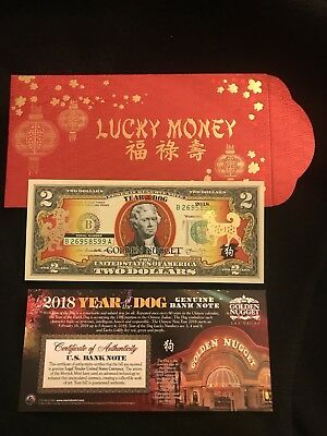 $2 Dlls. Chinese Year Of The Dog 2018 Golden Nugget Hotel/casino Las Vegas Nv.