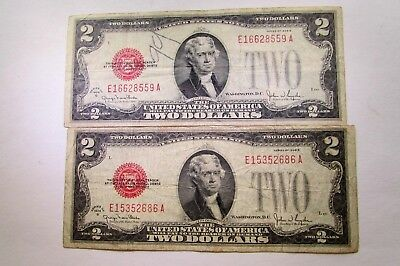 TWO  UNITED STATES 1928-G  LEGAL TENDER TWO DOLLAR NOTES  Fr# 1508