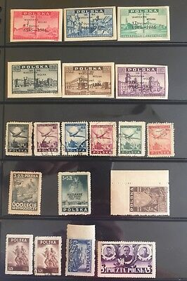 1945 - 1946 Poland, 100 Stamps Collection, MNH, Mint, Used