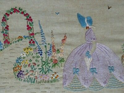 VINTAGE EMBROIDERED CRINOLINE LADY 1930s GARDEN ARCH FLOWERS BIRDS PICTURE PANEL