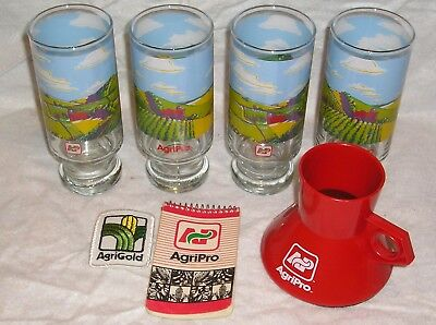 Lot of AgriPro Advertising Items - Travel Mug, (4) Glasses, Notebook, Patch