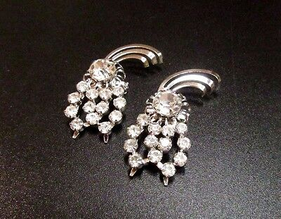 Vintage Gorgeous High End Rhinestone Fly Silver Tone Scatter Pins Brooches MINT!