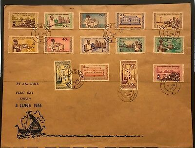 ZANZIBAR 1966 Definitive First Day Cover to 20/-.