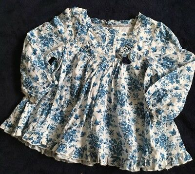 Monsoon Girls Blouse Floral Top Age 18-24 Months VGC