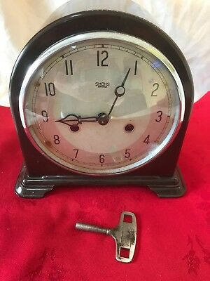 Art Deco Bakelite 30 Day Chiming Mantel Clock By Smiths Enfield Working Order