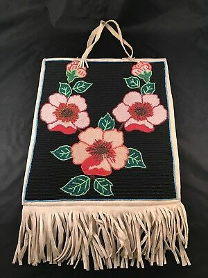 Fantastic Old Native American Leather Flower Beaded Bead Bag With Fringe