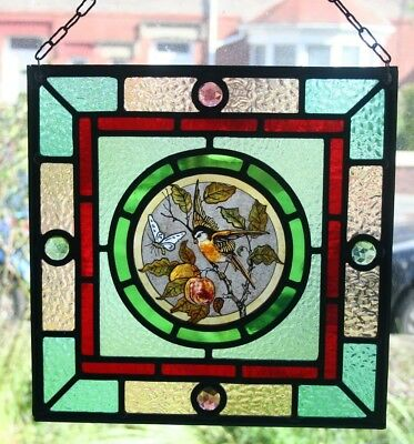 Beautiful Victorian 'Arts and Crafts' design stained glass panel.