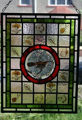 Beautiful Victorian 'Arts & Crafts' design stained glass panel with Nightingale