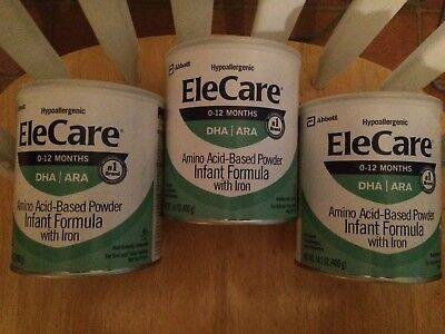 3 New Cans Of Elecare infant baby formula Free Shipping!
