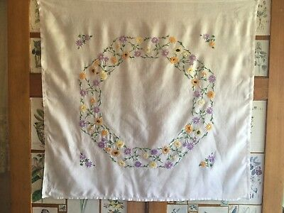 """Vintage VIBRANT FLOWERS Hand Embroidered Linen Tablecloth 34x34"""""""