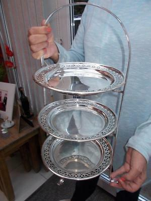 PRETTY 1920s ART DECO 3 TIER SILVER PLATED CAKE STAND ORIGINAL PLATTERS CUPCAKES