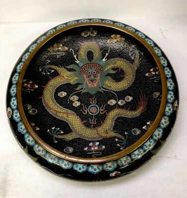 Antique Signed Oriental Chinese Japanese Bronze Cloisonne Enamel Dragon Bowl