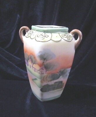 Vintage Nippon Double Handled Ewer Vase - 4.25 in. - Cherry Blossom? - Japan