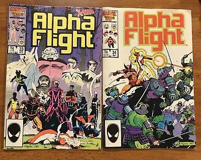 Alpha Flight #33 & 34 (Apr 1986, Marvel) 1st App of Lady Death Strike!