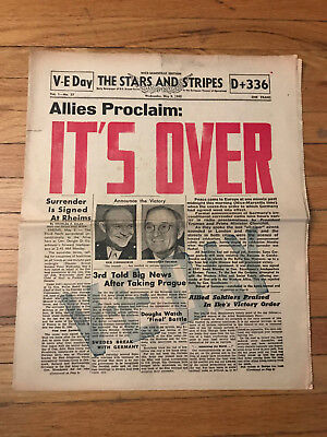 It's Over V-E Day Stars & Stripes Newspaper Marseille Edition Nazi WWII Germany