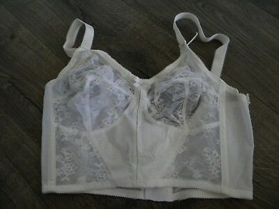 Vtg Bali White 3/4 Length Lace Nylon Spandex Bra - 36C New