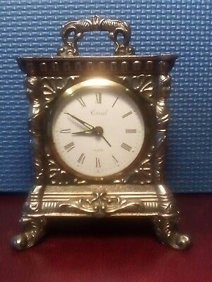 Super Little Brass Mecanical Mantle Clock with alarm. Working.