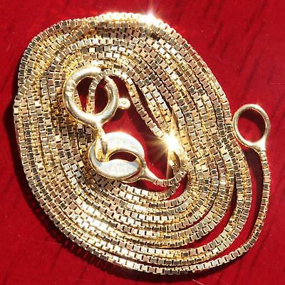 """10k yellow gold necklace 16.0"""" box link chain vintage 0.8gr"""
