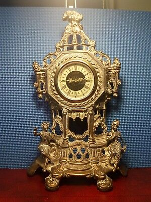 Super Antique Brass Wind Up Mantle Clock. Working.