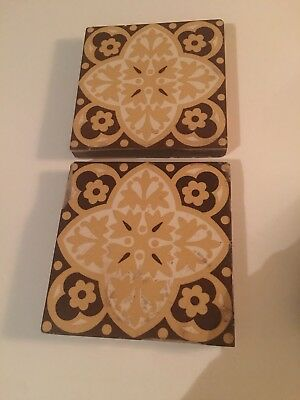 W Godwin Encaustic Tiles Pair