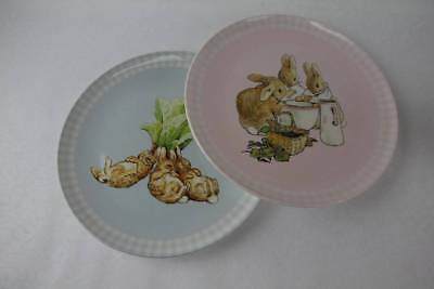 2 Pottery Barn Kids BEATRIX POTTER PETER RABBIT Melamine Plates New Condition 9""