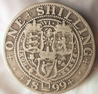 1899 GREAT BRITAIN SHILLING - RARE TYPE Vintage Silver Coin - Lot #614