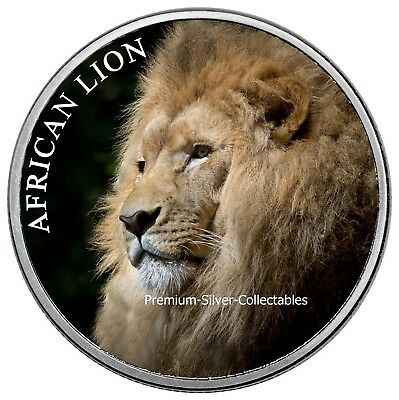 """2018 Republic of Chad """"Lion"""" - 1 Ounce Pure Silver Colorized Lion Series!"""