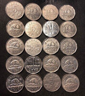 Old Canada Coin Lot - 1926-1951 - 20 Excellent Nickels - Lot #614