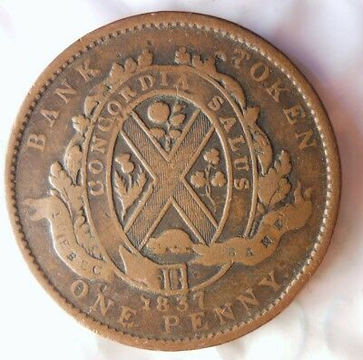 1837 CANADA (MONTREAL) PENNY - RARE Vintage Coin - + Value- Lot #614