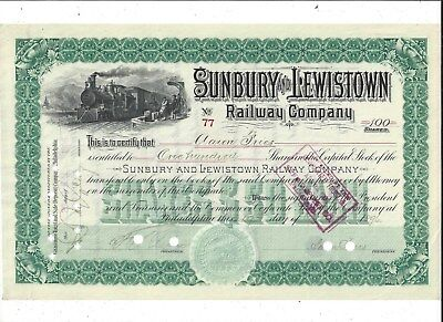 Stk-Sunbury & Lewistown Ry. Co. 1896  #77 PA  50 miles long  See images #5-6