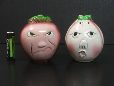 Vintage pair of onion faces Salt and Pepper shakers