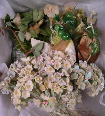 Large Assortment Vtg Millinery Forget Me Not Flowers Leaves 1