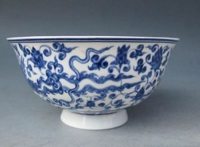 Chinese Old porcelain Hand Painted Dragon Bowl Qing Dynasty Qianlong Mark b01