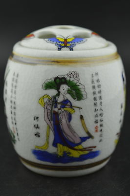 Allow buyChina Old Porcelain Drawing Butterfly & 4 Immortal Rare Storage Pot b01