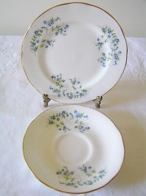Queen Anne Bone China Forget me Nots Saucer & Side Plate F97