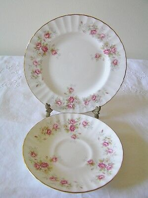 Duchess 'June Bouquet' Pink Roses Bone China  Saucer & Side Plate