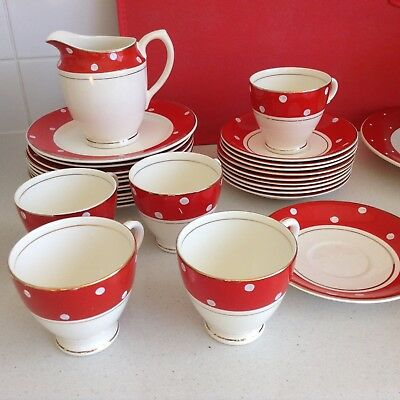 english China Crownford Burslem 1940's red white polka dot