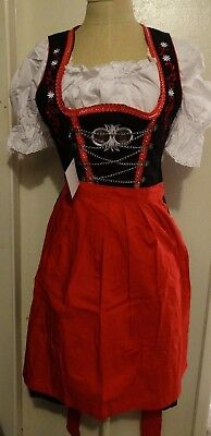 DIRNDL Womens Oktoberfest DRESS 3 pcs EMBROIDERED Swing Party Waitress Sz 38 (8)