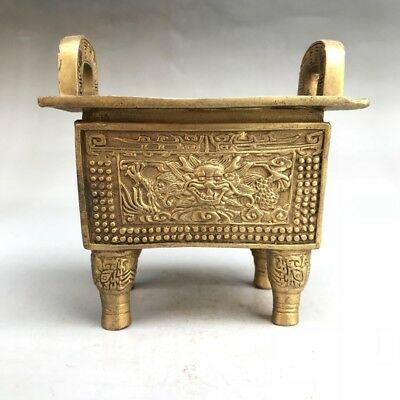 Ancient Chinese Brass Ding Statue Hand-carved Dragon Image